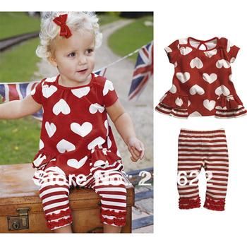 5 sets /lot baby girl clothing set / red love shirt+stripe pant ,Children summer clothing sets