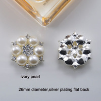 (M0470)  26mm diameter metal rhinestone embellishment ,silver or light rose gold plating,ivory or pure white pearl,flat back