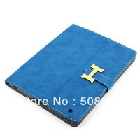 Freeshipping High Quality Synthetic Leather Leather Case w/ Back Cover For Apple iPad 3/2 Blue