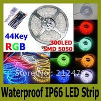 5m/lot Flexible LED Strip light SMD 5050 RGB 300 LED 60led/m Waterproof IP66 44 keys controller No Power  LED flat rope light