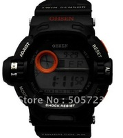 Free Shipping Fashion Chronograph Digital  Men Watch 1123-O Ohsen Day Date Alarm Light Gift