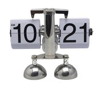 High Quality Retro Modern Auto Flip Double Leg Stand Metal Desk Clock 1pcs/lot