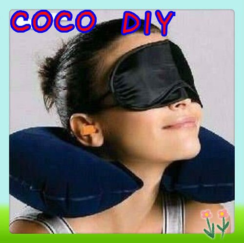 3 In1 Travel Set Inflatable Neck Air Cushion Pillow + Eye Mask + 2 Ear Plug Amenity Kit Comfortable Business Trip Free Shipping(China (Mainland))
