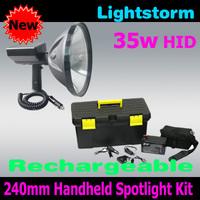 Free shipping! Lightstorm! Super bright 9 inch 35W Handheld Spotlight, hid camping hunting spotlight, emergency hid searchlight