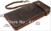 Free shipping,Leather wallet PURSE, vintage leather,long style leather purse, 5 bill compartment, 6 card slots,with weaven tail