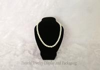 "Wood Prop Jewelry Necklace Display Bust Stand Holder Pendant Mannequin Portrait Shelf Rack Black Velvet 7"" Height"
