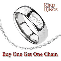 FTR009 Fashion Men's 316L Stainless Steel Band Ring The Lord of The Rings Silver Colour 6mm Wide US Size 6-12