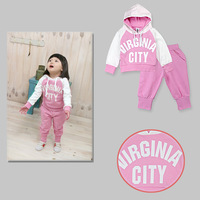 Autumn Baby Girl Sports Suit 100% Cotton Long Sleeves Coat with Pants Pink Clothes set