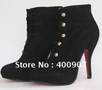 Fashion Suede Ankle Boots Gold Buckle High Heel Dress Boots
