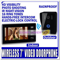 "Wireless 7inch colour take photos video door phone intercom system ( Wireless+7"" LCD+memory photos+ remote unlock+night vision)"
