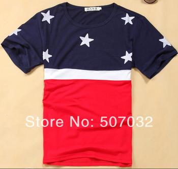 Flag Star USA flag t-shirt splice slpit joint  layer hunting custom  latex vintage grey red tattoo man discount t shirt
