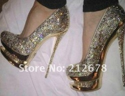 2013 Gold crystal double platform high pumps, drop ship sexy wedding shoes(China (Mainland))