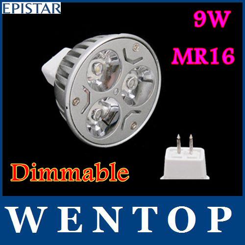 10 pcs mr16 9w 3x3w dimmable rohs chaud cool 810lm blancla mené la lampe spot 60w éclairage gu5.3 12v 15 30 45 60 90 120 degrés