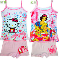 wholesale(12sets/lot)  kitty/princess/frozen cotton children/kids/girls underwear clothing set with vest and boxer(2 to 8 years)