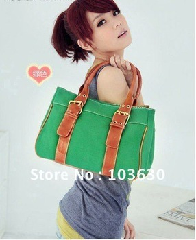 2013 New 5 colors ladies canvas women handbags promotion,Fashion shoulder bag,casual school briefcase bag classic Free shipping