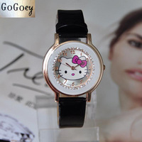 Hello Kitty Cartoon Fashion Women Dress Quartz Watch Leather Clock Children Watches Casual Rhinestone Wristwatch New 2014 Hours
