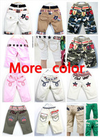 Free shipping 5pcs Children's casual shorts Boys/girls shorts Plaid pattern with star design Khaki White
