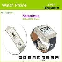 "Swap Signature  stainless 1.46"" touch screen, 1.3 MP camera watch phone"