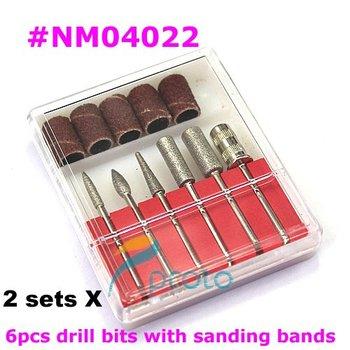 2 sets 6PCS Drill Bits and Sanding band Nail Drill Replacement Set Nail Electric File Metal Bits Nail Tools Dropshipping E0236X