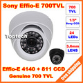 1/3 Sony CCD Effio-E 700tvl 24leds IR indoor Security CCTV dome camera free shipping