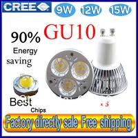 Factory directly sale 5pcs/lot CREE Bulb led bulb GU10 9w 12w 15w 85-265V Dimmable led Light led lamps spotlight free shipping