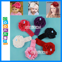 "Free shipping! Hot sale  11"" peon flower solid color children infant baby hair hairband accessories headband 6pc/lot"