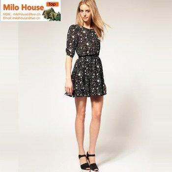 2014 elegant beautiful popular high-quality star print chiffon half sleeve women girl dress with belt black XS/S/M/L/XL/XXL