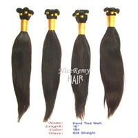 hot sale/100% chinese virgin remy hair hand tied weft / hair  silk staight  in natural color/100grams/piece,2 packs/lot