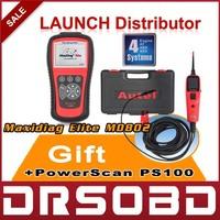 2015 100% original Autel Maxidiag Elite MD802 4 IN 1 code scanner MD802 (MD701+MD702+MD703+MD704) 4 System + DS Model + EPB +OLS