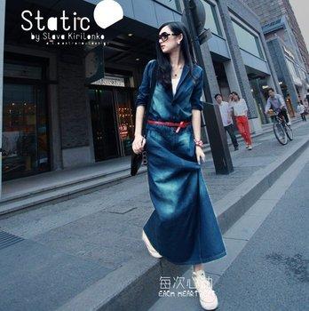 2014 summer new famous encounter ice silk denim skirt Ms. waist was thin denim dress free shipping