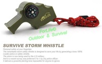 Freeshipping 2pcs/lot r storm whistle world loudest whistle with thermometer compass fire starter can used underwater