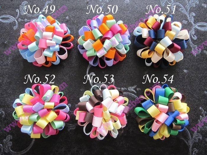 free shipping 45pcs 2.5'' fashion loopy puffs hair bows Boutique Girls hair clips character ribbon hair bows(China (Mainland))