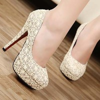 new Women's pumps.sweet thick-soled sexy  Waterproof  high heels Shoes.10cm party shoes.Lace wedding shoes hh1291