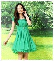 Free shipping Brand Brief Rhineston high quality Plus Size linen XXL pearl  chiffon bandage  green  women dresses vestidos