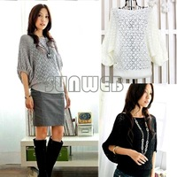 2012 women's Hollow Batwing Dolman Knit Knitting Coat Out Round Neck Sweater Top Cardigan free shipping 7087
