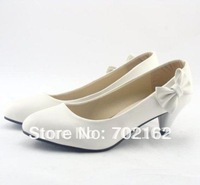 Promotion 2013 Hotest Shoes Woman WL-908 ladies med heels shoe women bow-tie autumn pumps free shipping