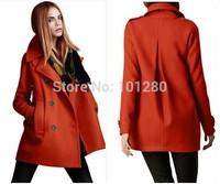 Women Coat Autumn Winter  Fashion 2014 Wool Coat Casacos Femininos Double Breasted Overcoat Plus Size Black Abrigos Mujer T151