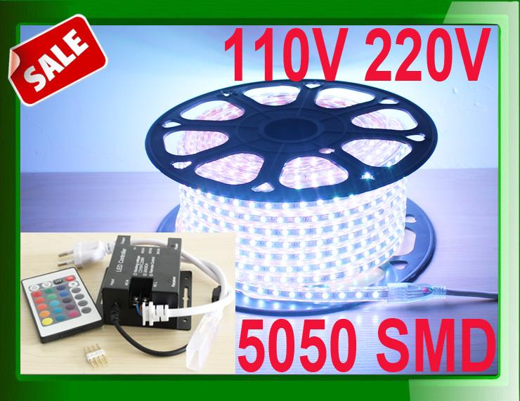 LED stripe light 110v 220v 5050 RGB white color + RF Dimmer / IR 24key controller + 50m a roll LED ribbon tape band lighting(China (Mainland))