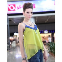 FREE SHIPPING BaBassu Newly Fashion Sexy Sleeveless Off Shoulder Color Block Ladies' Casual/Beach/Party Chiffon  Sling top