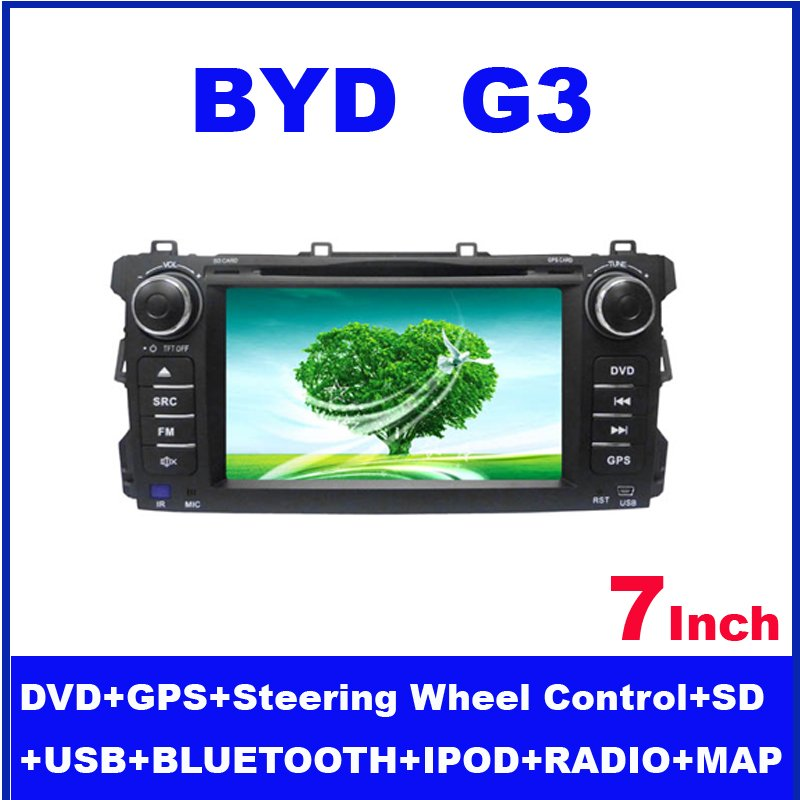 7 inch Car DVD player for BYD G3CAR with movie playing DVD Bluetooth IPOD TV 3D map RDS PIP wheel control Free shipping !(China (Mainland))