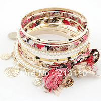 2014 wholesale Alloy Fabric Bangles Fashion Elastic Bracelets sets mixed colors ,free shipping