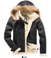 Free shipping !!  New 2014 Men's brand Amercia pilot  Fur thickening lamb flocking air force leather jacket coat / M-XXL
