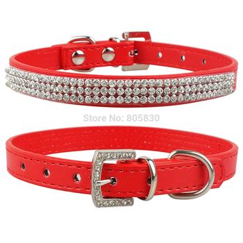 MOQ: 40pcs 5Colors PU Leather Rhinestone Pet Dog Cat Fashion Collar