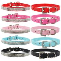 Crystal Dog Collars MOQ: 20pcs 5Colors PU Leather Rhinestone Pet Dog Cat Collar Black, Red, Pink, Rose, Blue