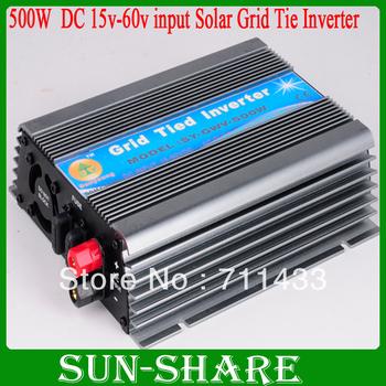 DHL free shipping!  500W grid tied solar inverter  input DC15V-DC 62V , Output AC 110v, AC 230V