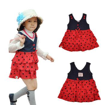 Princess Girl Red Dress with Polka Dots Print, Baby Bow Sundress, 3T-5T Kids 2015 Spring Autumn Sleeveless Minidress Clothing