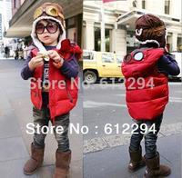 New 2014 the children's waistcoat winter casual pilot glasses red waistcoat is children's  EL-98