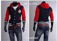 baseball Jackets uniform new 2015 Chaquetas Men jackets male coat windproof Suit hoodies Slim body suit sport suit XXL Red
