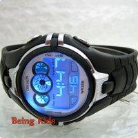 OHSEN watch  Black Color Men Boy Smart Sport Digital AL 7 color BackLight  Soft Rubber Strap Wrist Watches New