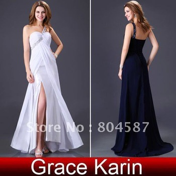 2012 New Arrival!!Grace Karin One shoulder Formal Prom Wedding Bridesmaids Party&Evening Gown dress size 8 Size,chiffon,CL3186